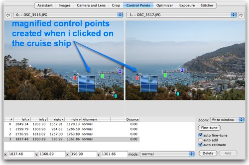 clicking on the image to create control points