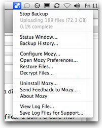 mozy showing huge files getting backed up