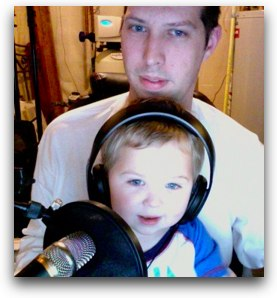 Matt and his son Will listening to the live show