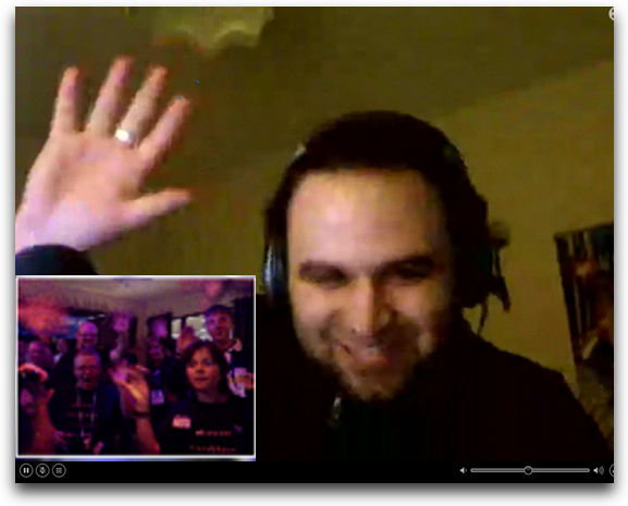 bart on skype with crowd smiling