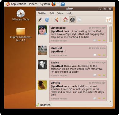 Pino twitter client running on Ubuntu 9.20