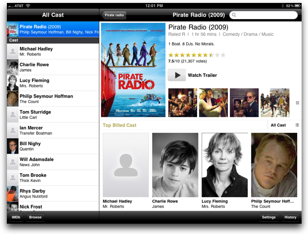IMDB on the iPad showing Pirate Radio