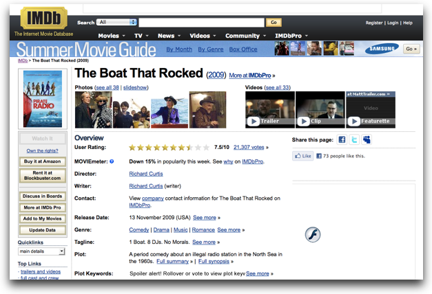 imdb page on OSX showing Pirate Radio