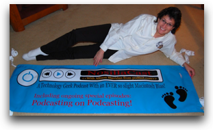 george's banner with me lying next to it for fun