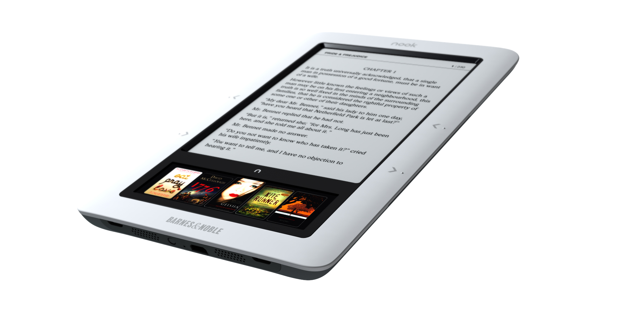 Nook at an angle showing e-ink and color displays