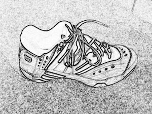 tennis shoe in black and white sketch