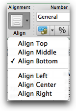 compressed alignment menu showing one button with pulldown