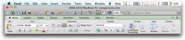 menu bar, button bar, ribbons