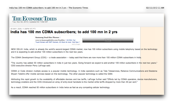 India newspaper article about them having 100 million cdma subscribers
