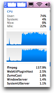 my cpu's cranking as they use ffmpeg to transcode the video