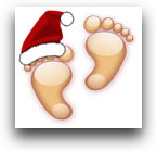 left toes of the podfeet are covered by a jaunty red and white santa hat (right toes are cold...)