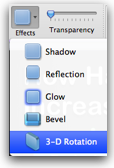 effects options for glow, shadow, etc
