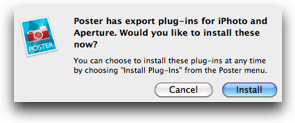 Poster wants to know if I want it to install a plugin for Aperture and iPhoto