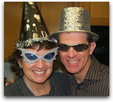 Al and Steve wearing funny hats and glasses, looking like idiots