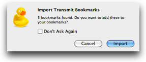 cyberduck politely asking if I'd like to import my bookmarks upon first launch