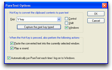 PureText configuration window for what key to use to paste