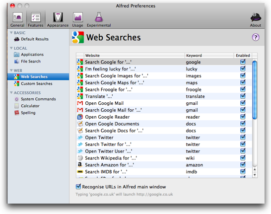 tons of web search options