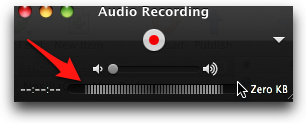 quicktime recording window showing volume