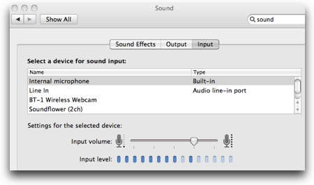 sound preference pane showing input volume