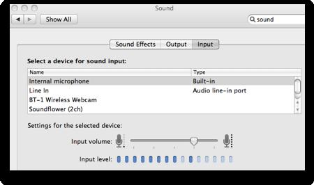 sound preference pane showing input volume