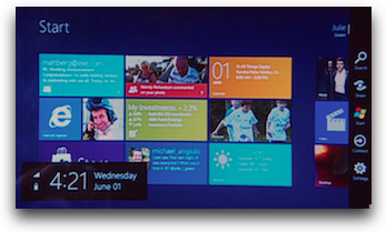 Windows 8 showing the tiles