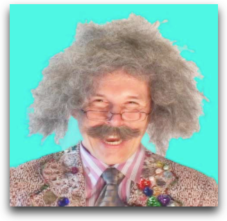 Professor albert - crazy hair like einstein, big silly glasses, giant mustache and a jacket with jewels on it