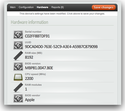 hardware configuration page