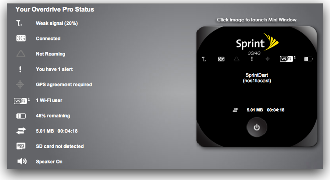 status window from the web browser