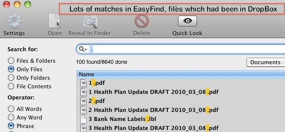 matched files that were in Dropbox