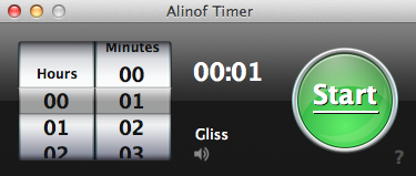 screenshot of alinof timer before start