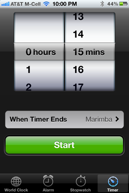 screenshot of the regular timer in iOS