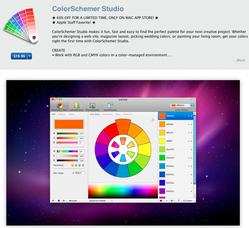 iTunes page on colorschemer as stu described