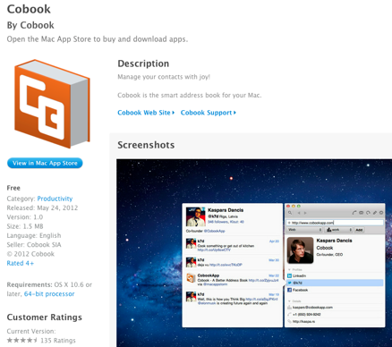 cobook in iTunes store showing a screenshot