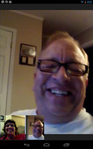 kenny lee and me in a google hangout on our nexi 7