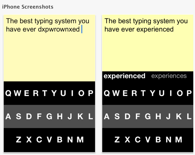 fleksy screens showing glop typed and corrected word