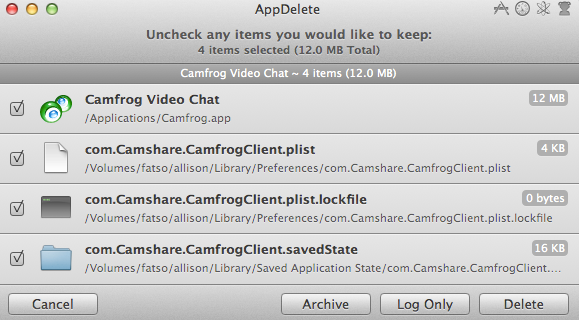 AppDelete showing poor Camfrog Video ready to be axed