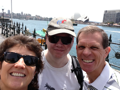 Allison, Allister and Steve in front of the Sydney Opera house looking goofy