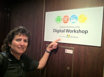 windows digital media workshop sign with Al looking confused
