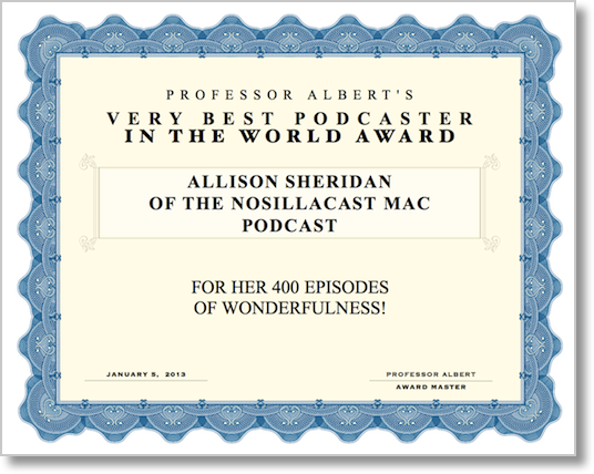 OFFICIAL certificate from professor albert commemorating 400th show