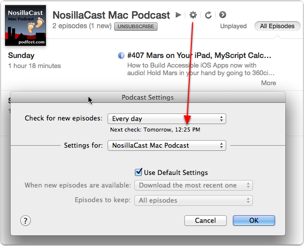 itunes - podcast - click gear - shows refresh time