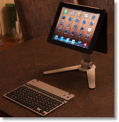 iPad in the Versa stand with a keyboard