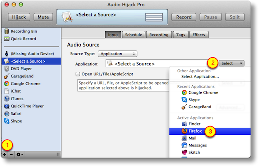 main window asking to select a source