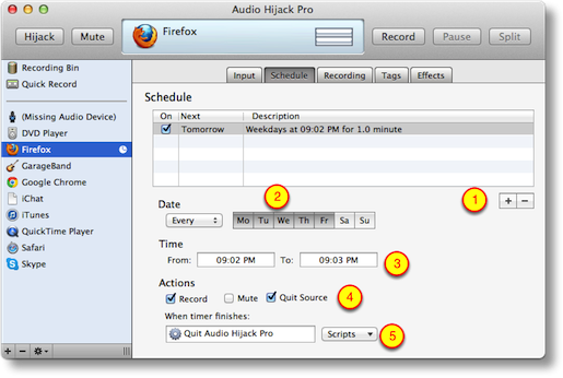 setting the timer in Audio Hijack Pro