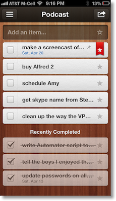 iOS version of Wunderlist showing open actions