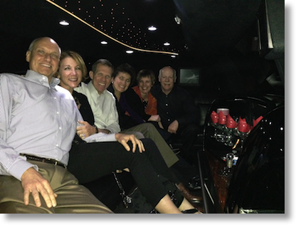 Diane, Bill, Steve, me, Dean and Suzanne kicking back in the limo