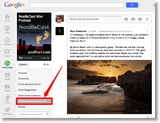 pointing to the NosillaCastaways Show Off category in G+