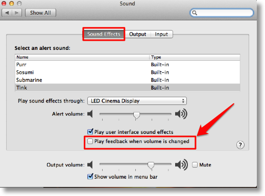 where to click in Sound prefs