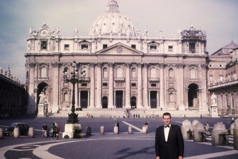 a photo of Katie's Grandpa at the Vatican wearing a tuxedo