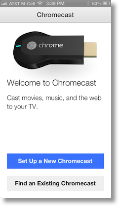 iPhone screen with button saying set up new Chromecast