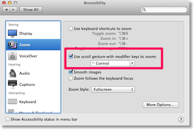Accessibility window showing Zoom and the checkbox for scroll with control